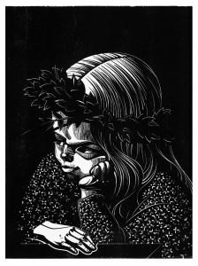 Kind, aus der Serie Melencolia Infantilis, 2013Holzschnitt, 10er Auflage Druck, 40 x 30 cm, Papier 43 x 33cm € 270,-
