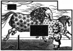 Fernsehturm, aus der Serie Equusation, 2015Holzschnitt, 10er Auflage, Druck 21 x 30 cm, Papier geringfügig größer€ 230,-