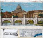 Wrapped Ponte Sant Angelo' (Project for Rome 1969 - 2011)               Collage Grafik mit original in Stoff verhüllter Brücke und Handübermalung  63,5 x 72,4 cm, Auflage 160 Exemplare arabisch und 90 Exemplare römisch, handsigniert    Preis auf Anfrage
