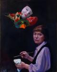 Selbstbildnis mit Masken 2009Öl auf Hartfaser, 100 x 80 cmPreis auf Anfrage