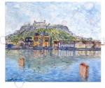 Main River Würzburg, 2014Acrylfarben und Tüten auf Leinwand, 120 x 140 cm Verkauft