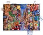 New York Web City, 2015Acryl auf Künstlersiebdruck/ Tüten auf Leinwand, 80 x 110 cmPreis auf Anfrage