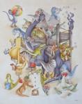 Dinospielplatz (Burg)Aquarell a/Papier, 56,0 x 43,0 cmaus '1-2-3 Dino-Zählerei, Coppenrath 2012                                                               Preis auf Anfrage