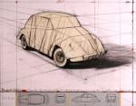 Wrapped Volkswagen 2013 (Project for 1961 Volkswagen Beetle Saloon)Collage Grafik mit original Stoff verhüllten Volkswagen  und Handübermalung   55,8 x 71,0 cm,   Auflage 160 Exemplare arabisch nummeriert, 90 Exemplare römisch nummeriert handsigniert   Preis auf Anfrage