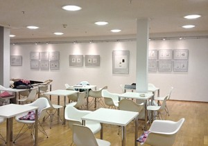 Pascal Heiler, Installationsansicht Stadtbücherei - Cafe