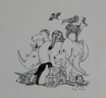Original Tusche-Zeichnung aus: Tier-ABC, 1983Ca. 16 x 15,5 cm (Darstellung), signiert 600,- €