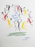 Tanz und TaubePlakatlithographie,  in der Platte datiert 25.07.(19)61 und signiert 64,5 x 49,5 cm (ganzes Blatt)Verkauft