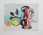 Stillleben Farb-Aquatinta, 1962, handsigniert Nach dem Original von Picasso bei  Aldo Crommelynck gedruckt und von Picasso signiert Nr. 161/300 Ca. 32,5 x 40,5 (Platte)
