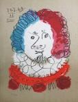 Erfundenes Portrait Farblithographie,  in der Platte datiert 30.03.(19)69 und signiert Nr. 118/250 65,5 x 51 cm Nicht im WerkverzeichnisVerkauft