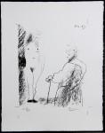 Mann und AktLithographie, in der Platte datiert 11.2.(19)69, handsigniert Nr. H.C. VII/XXV; Mourlot 407 Ca. 28 x 22 cm (Darstellung)