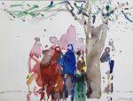 Menschengruppe unter Baum 1990Aquarell auf PapierAM 28,7 x 37,8 cmPreis auf Anfrage